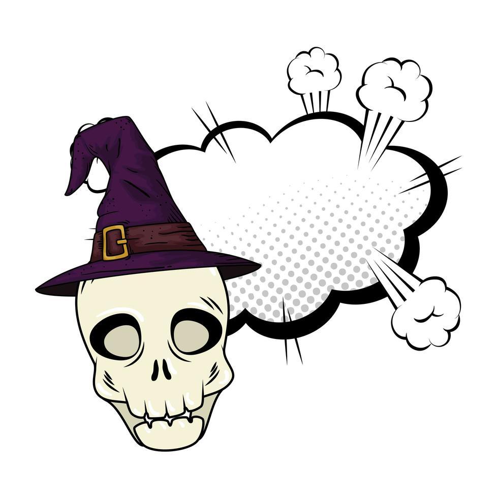 halloween schedel met heksenhoed vector