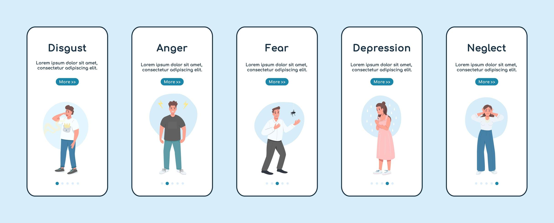 negatieve emoties op het scherm van de mobiele app vector