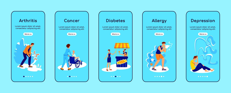 chronische ziekten onboarding mobiele app-scherm vector