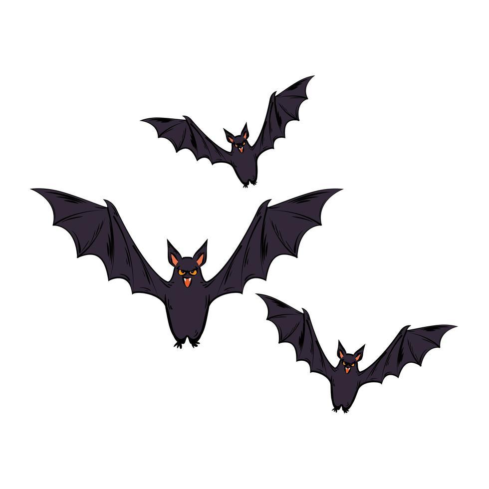 halloween vliegende vleermuizen vector