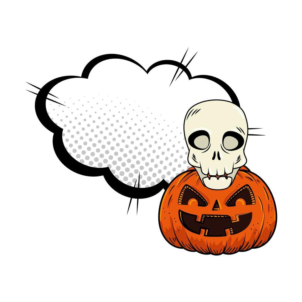 Halloween-pompoen met schedel vector