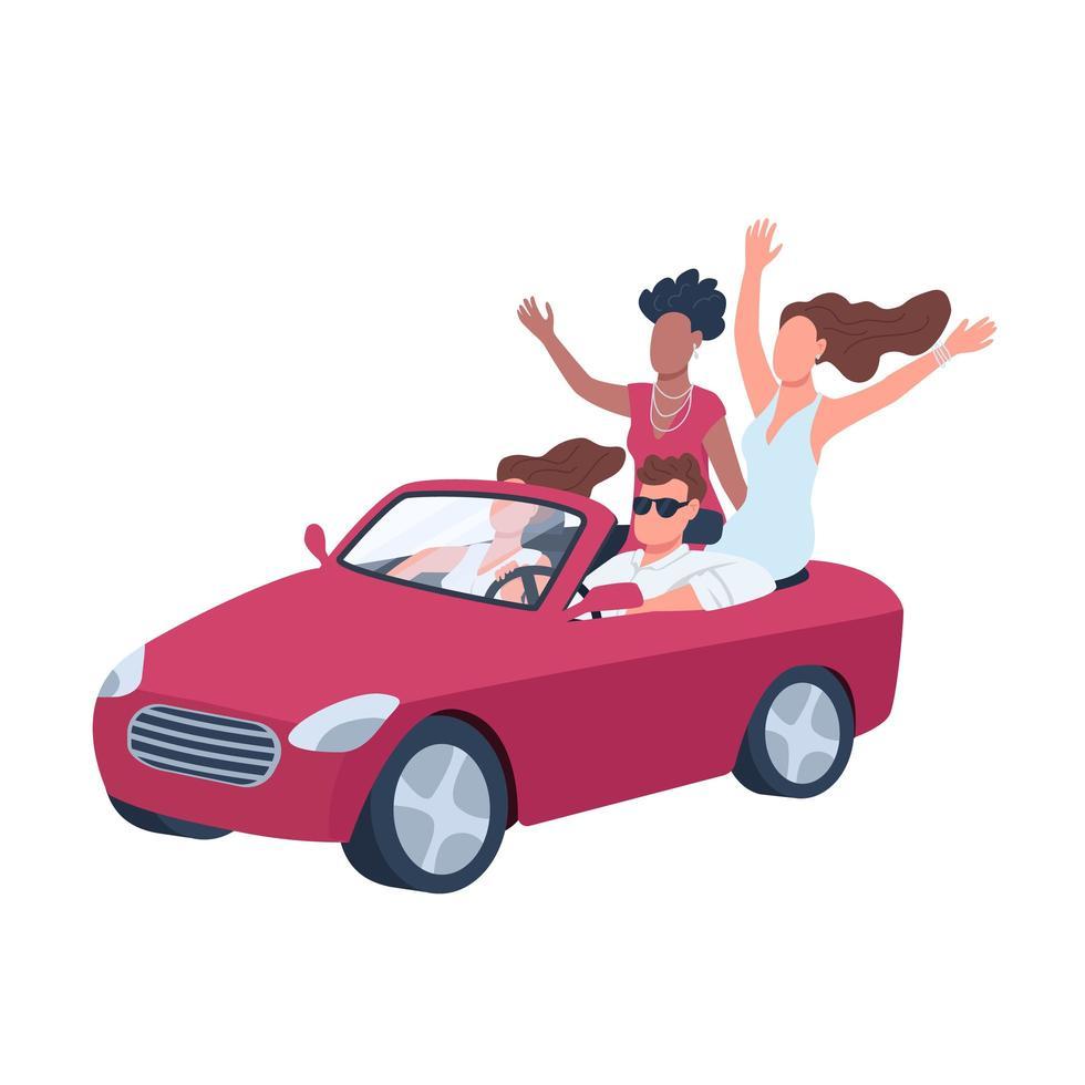 aantrekkelijke man in auto omringd door meisjes vector