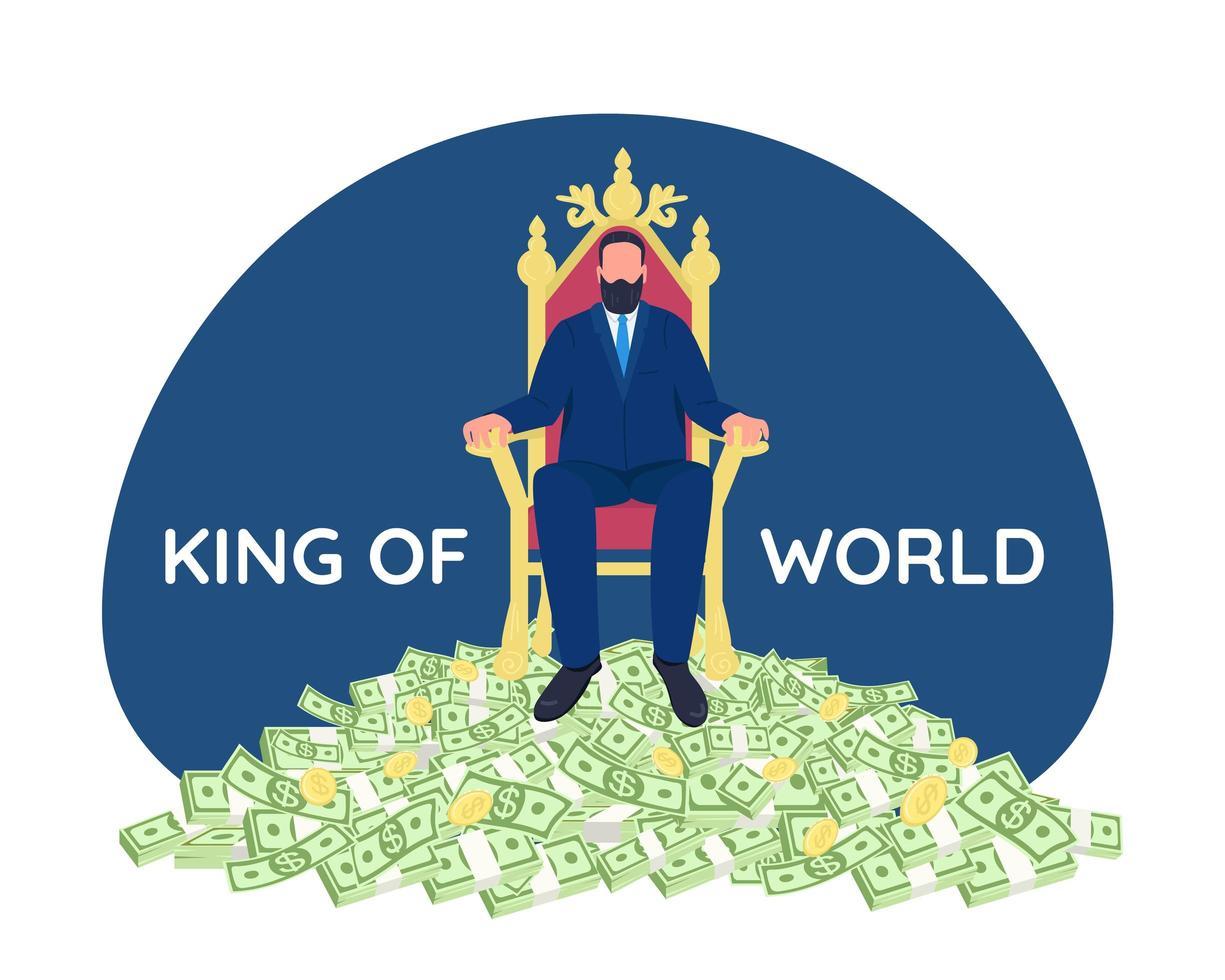 succesvolle zakenman zittend op de troon vector