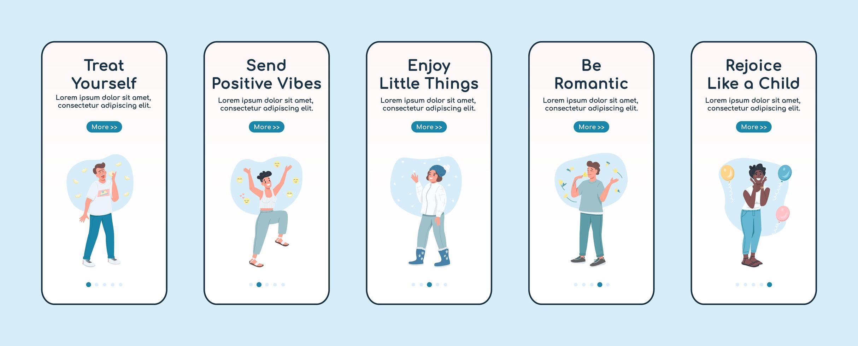 self care onboarding mobiele app-scherm vector