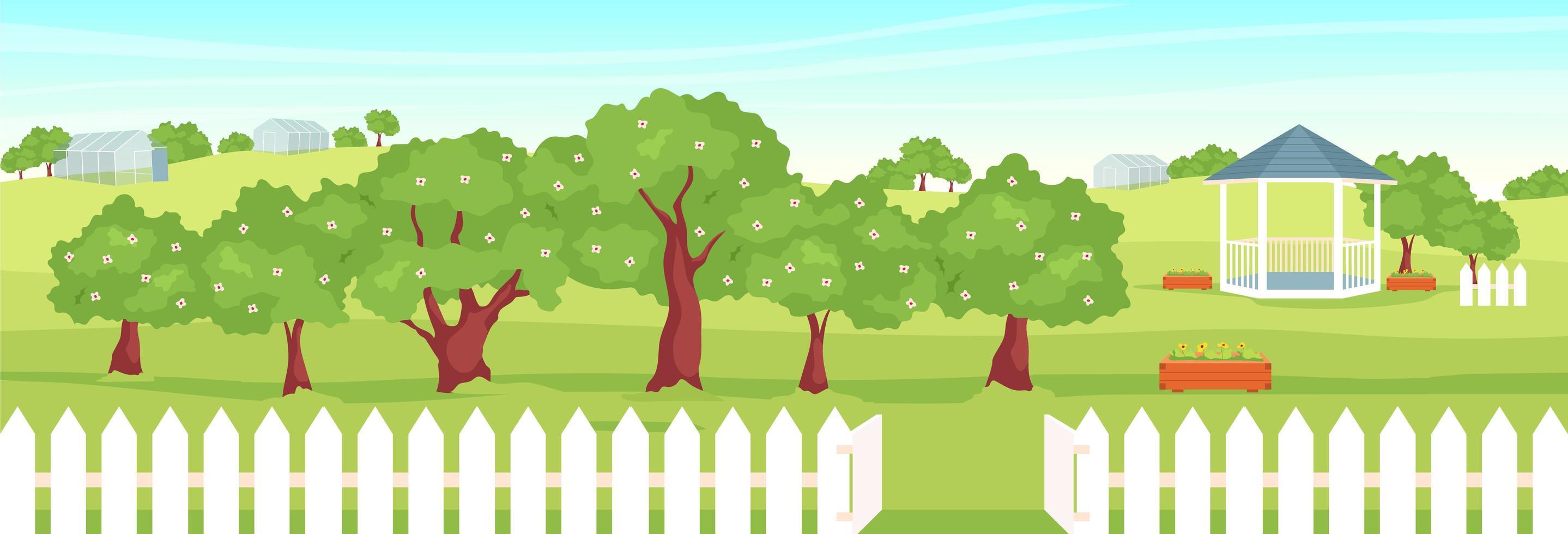 landschap met tuinhuisje vector