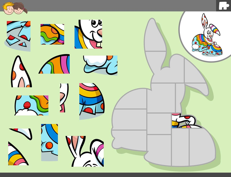 puzzel spel met cartoon paashaas vector