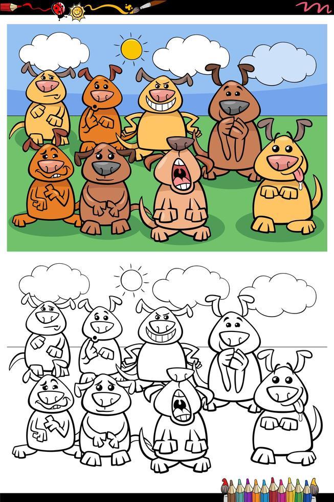 cartoon grappige honden groep kleurboekpagina vector