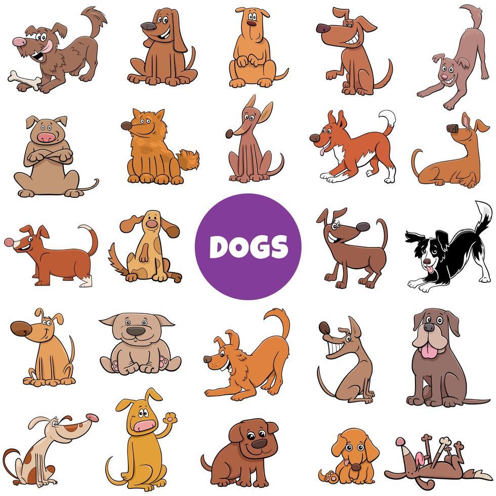 cartoon honden en puppy's grote reeks vector