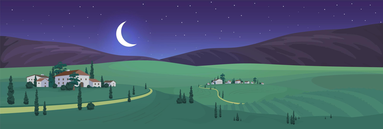nacht uitzicht van oude Italiaanse dorp vector