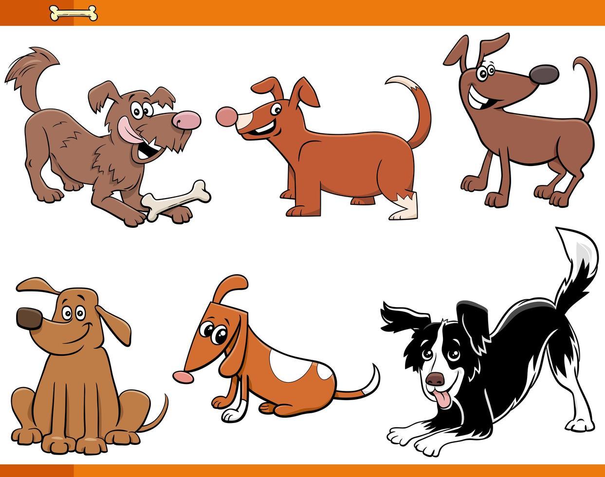 honden en puppy's grappige dieren tekenset vector