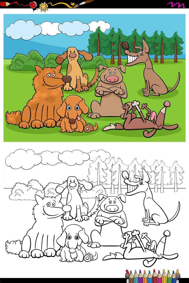 cartoon honden en puppies groep kleurboek pagina vector