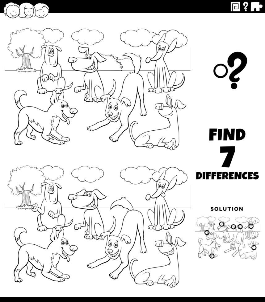 verschillen spel met honden groep kleurboek pagina vector