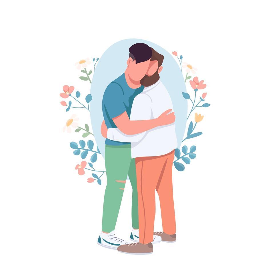 homo paar knuffelen vector