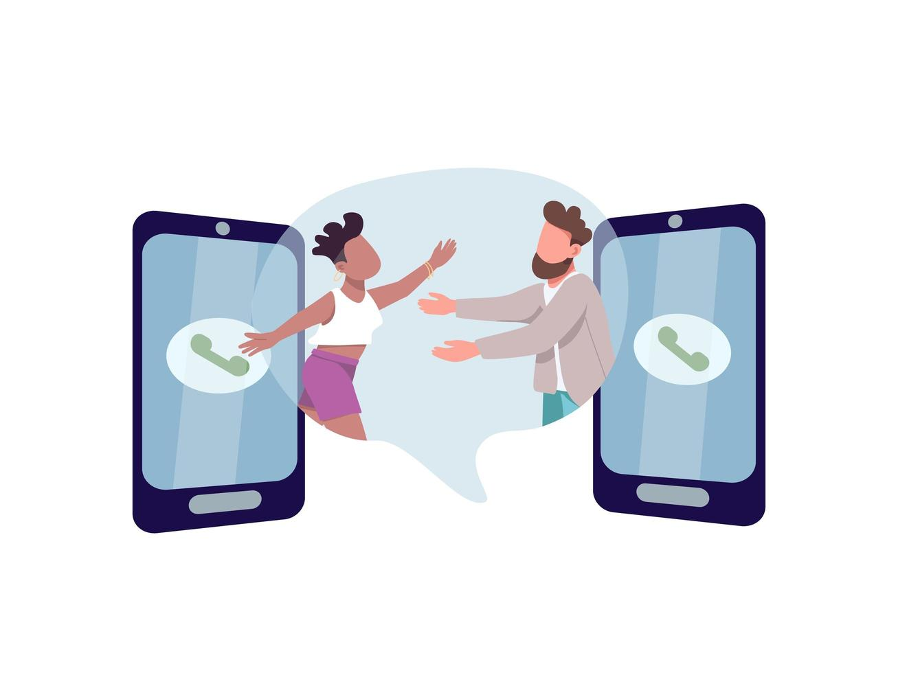 man en vrouw knuffelen via telefoons vector