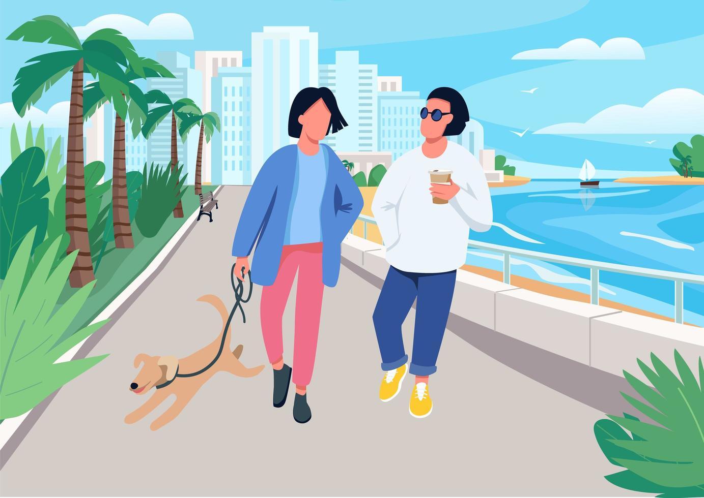 koppel met hond wandelen langs de kust vector