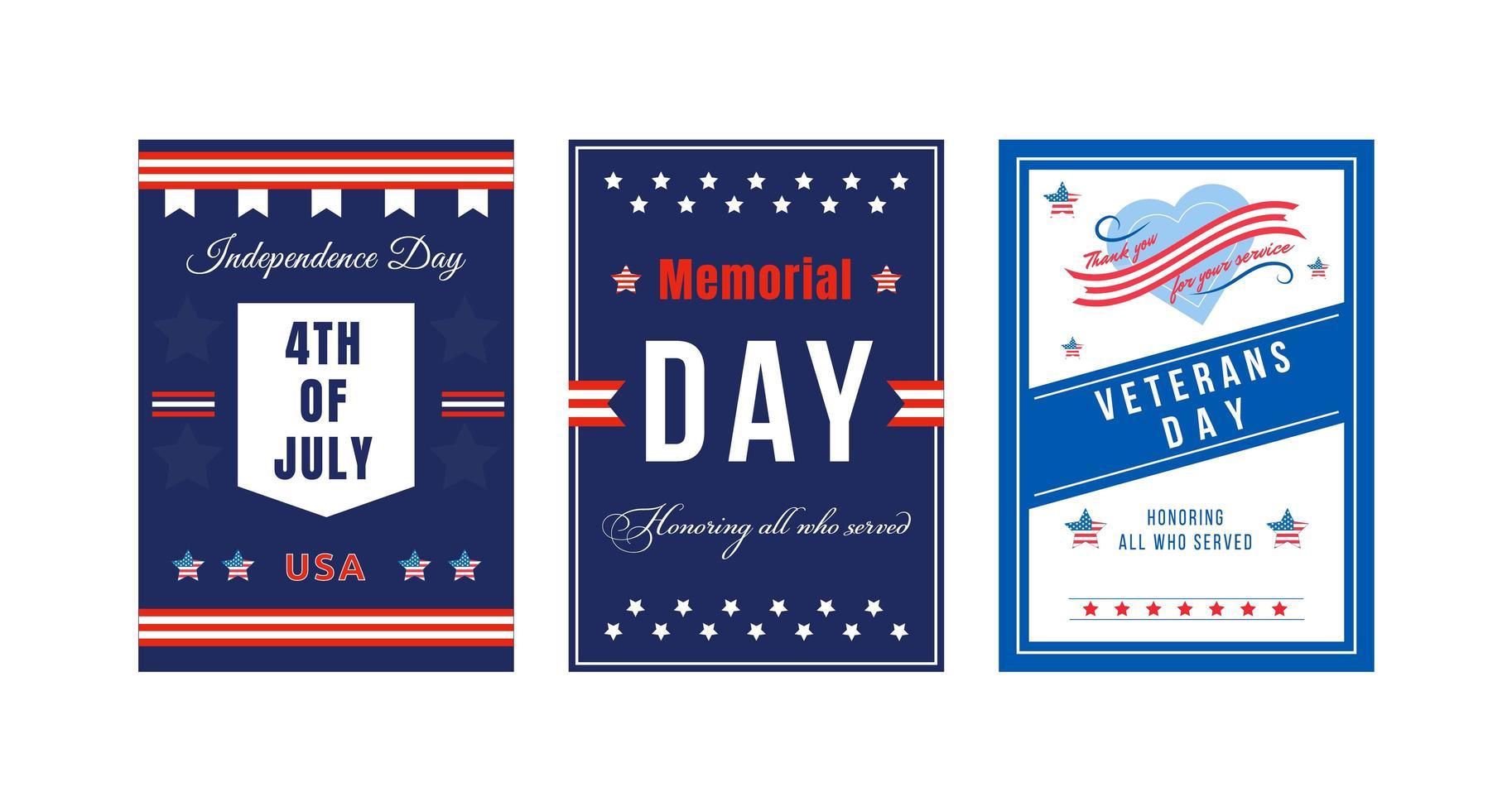 Amerikaanse nationale feestdag poster set vector