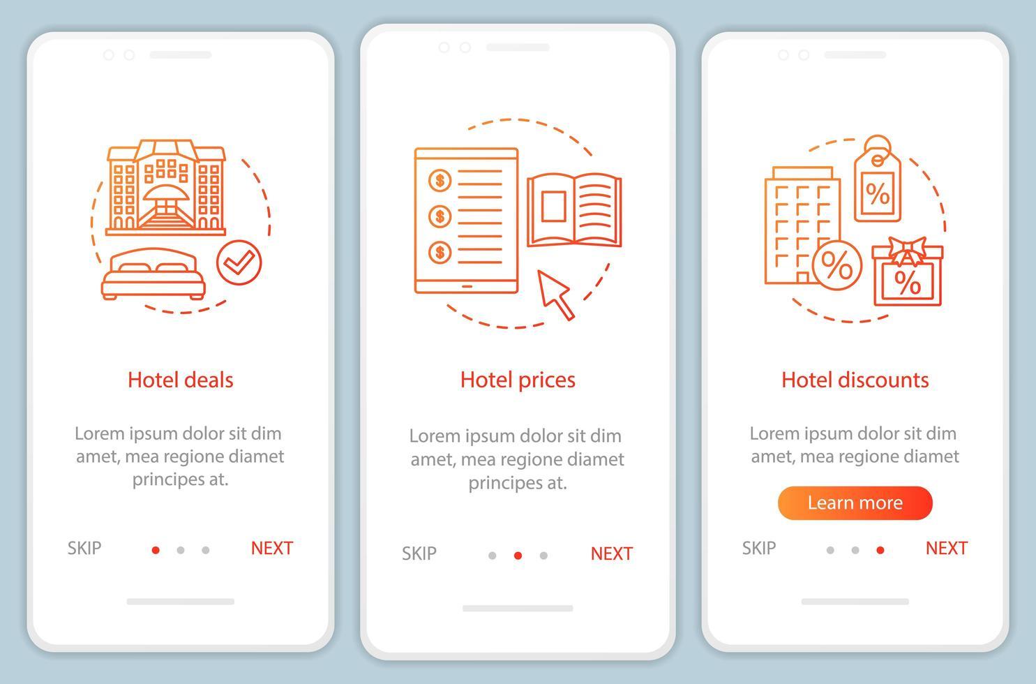 hotel online boeking onboarding mobiele app pagina scherm vector