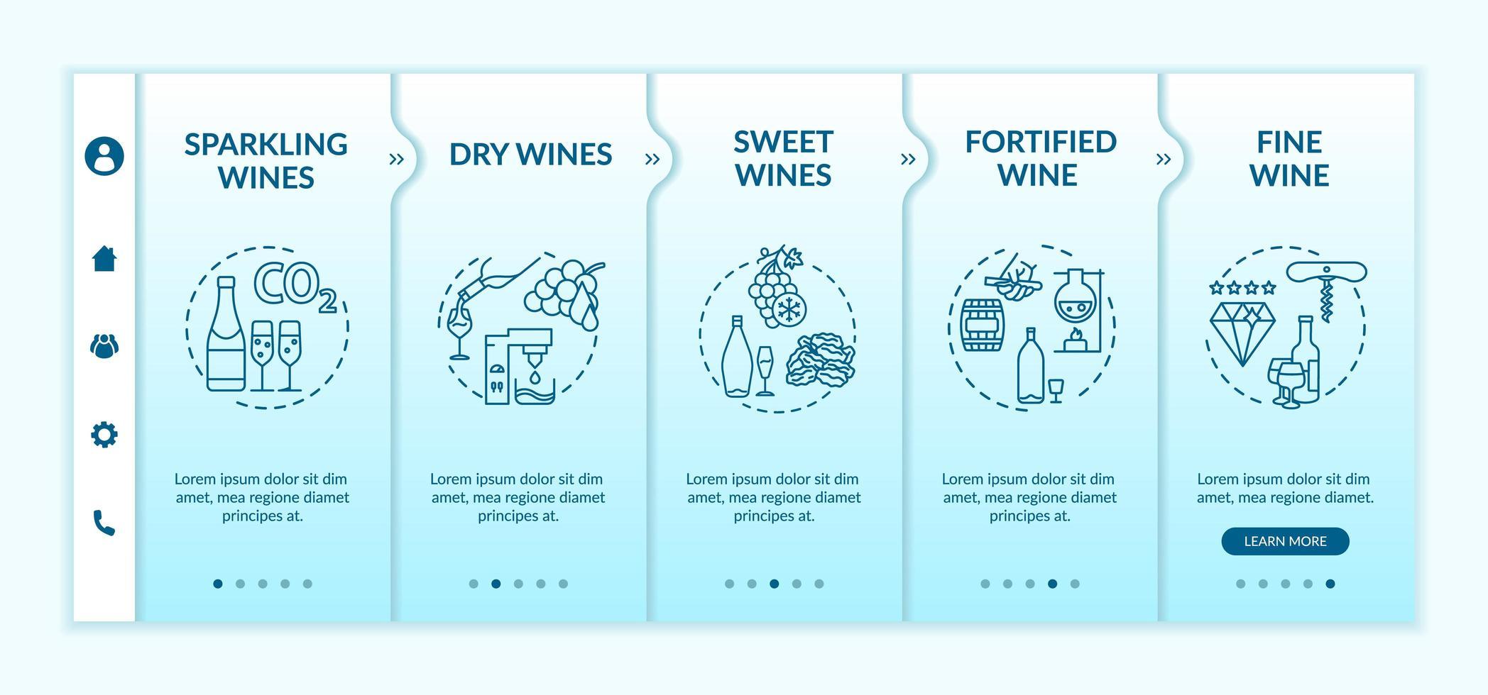 wijnsoorten onboarding-sjabloon. vector