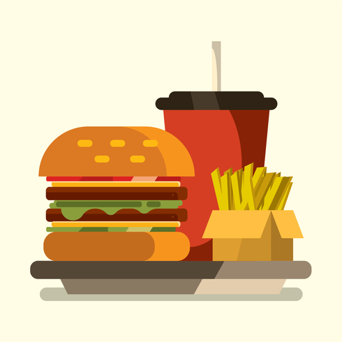 Burger maaltijd set vector