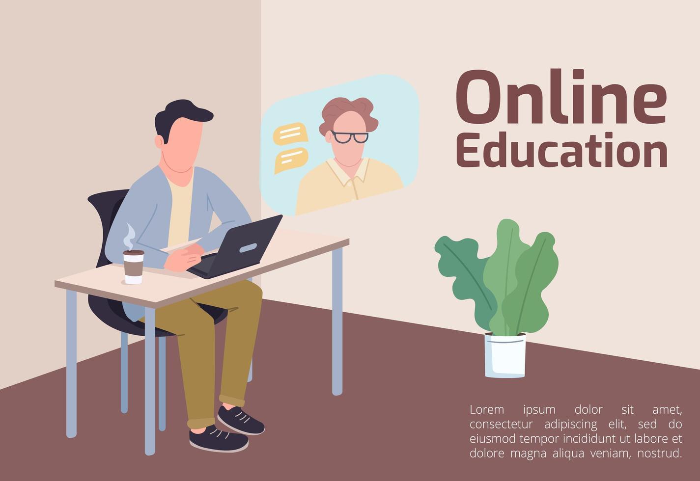 banner voor online onderwijs vector