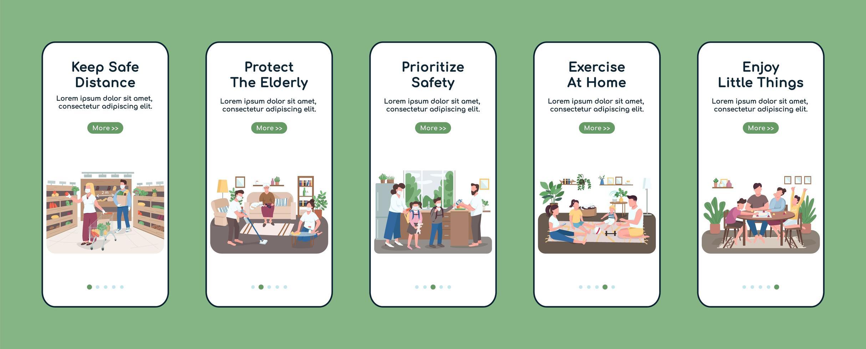quarantainemaatregelen op het scherm van de mobiele app vector