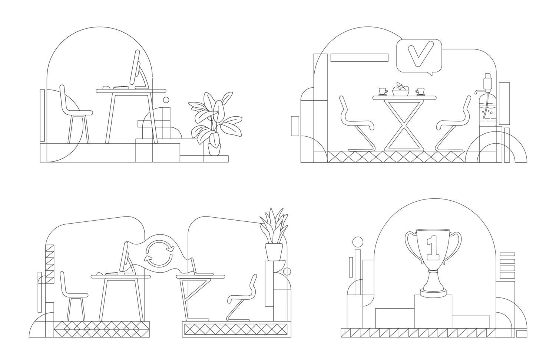 hoofdkantoor schets set vector