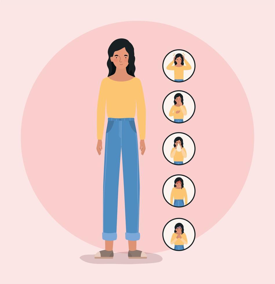 avatar vrouw met 2019 ncov virus symptomen ontwerp vector
