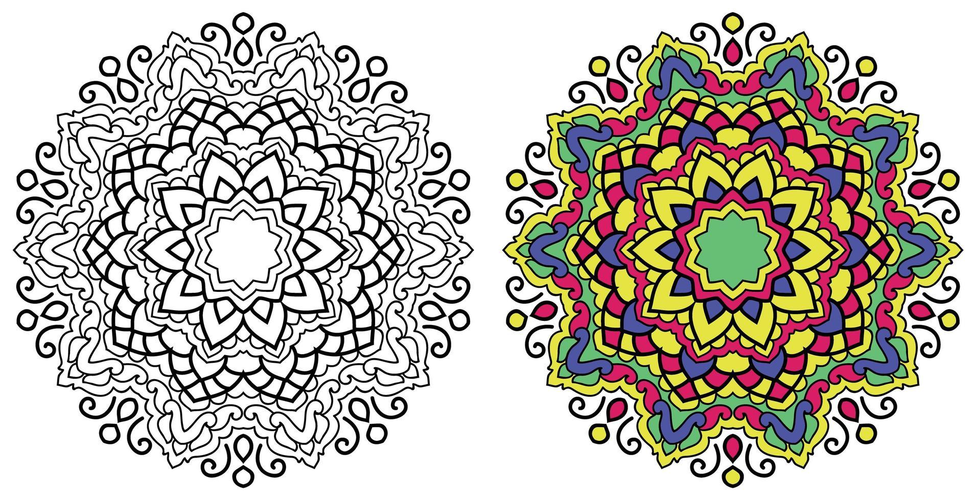decoratieve afgeronde sier kleur mandala ontwerp kleurboek pagina vector