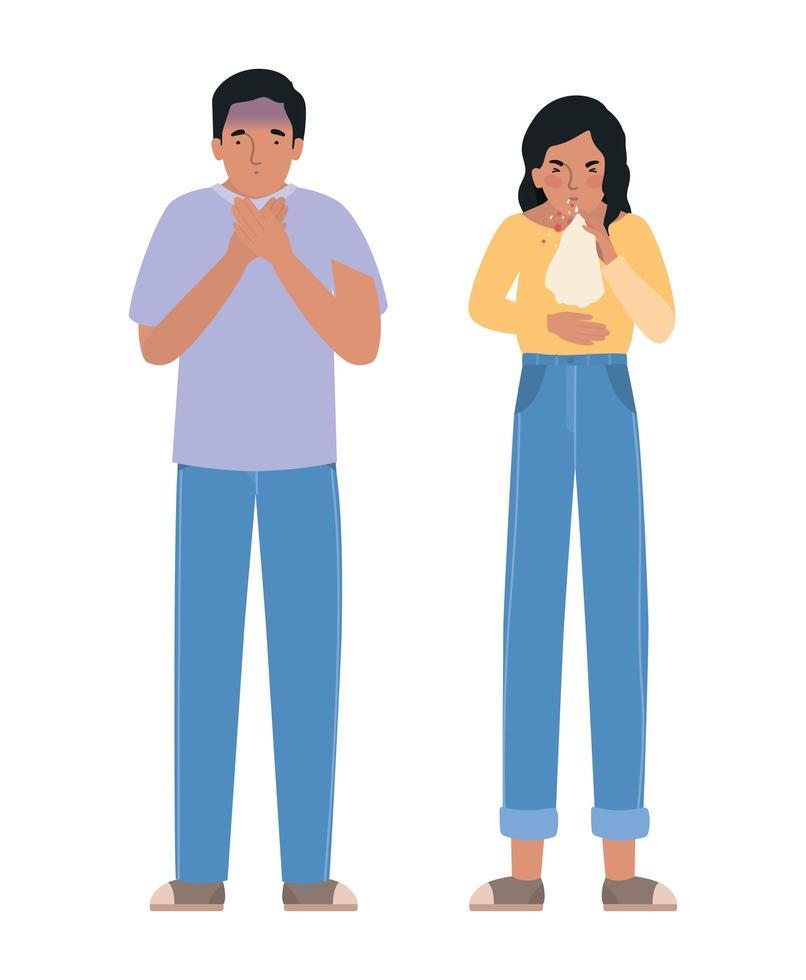 avatar vrouw en man met covid 19-virus vector