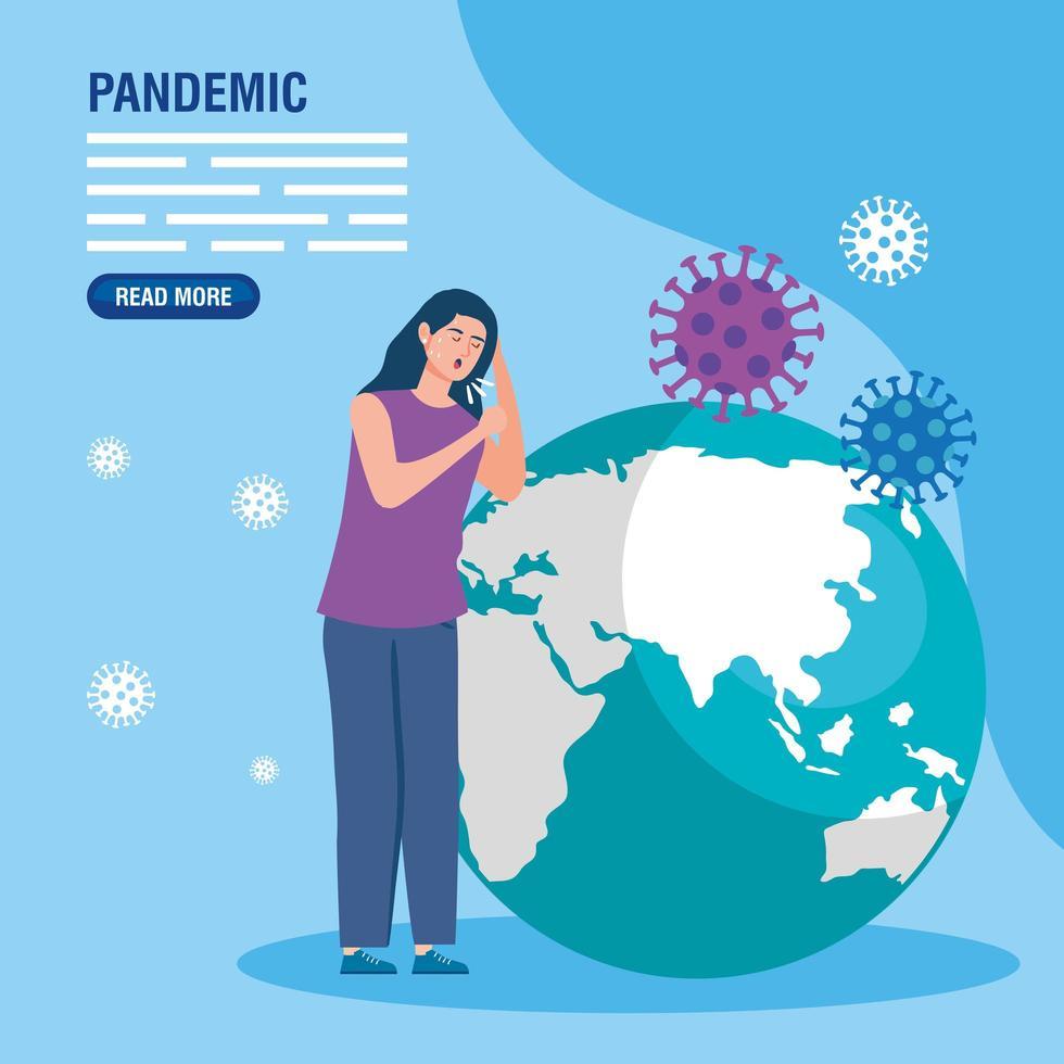 coronaviruspreventiebanner met zieke vrouw vector