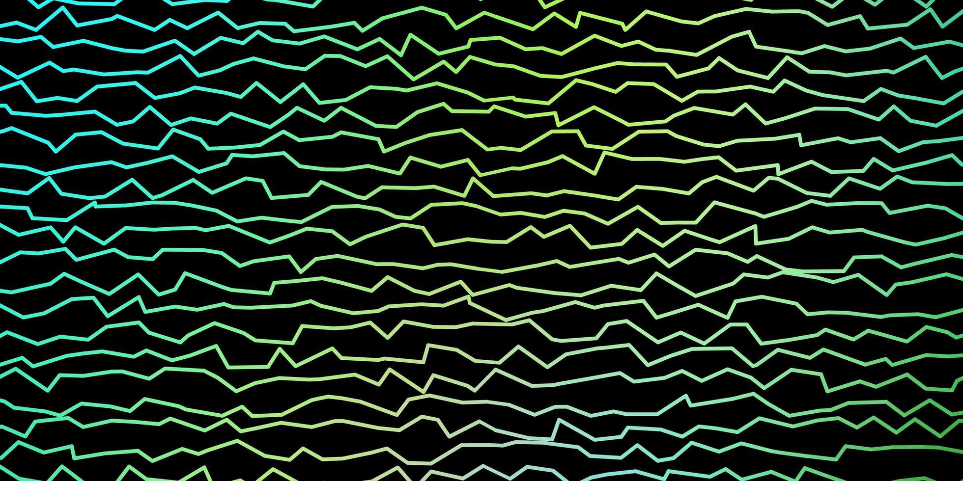 donkerblauwe, gele achtergrond met gebogen lijnen. vector