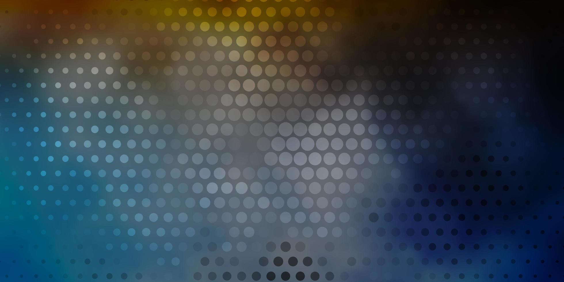 donkerblauwe, gele achtergrond met cirkels. vector
