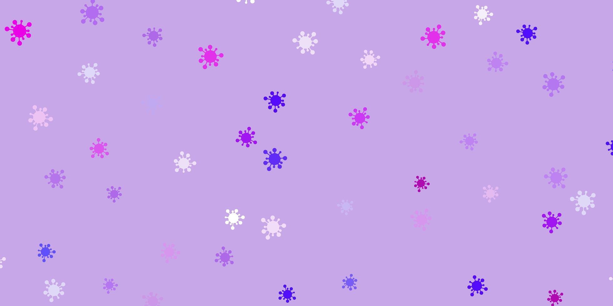 lichtpaarse, roze achtergrond met covid-19 symbolen. vector