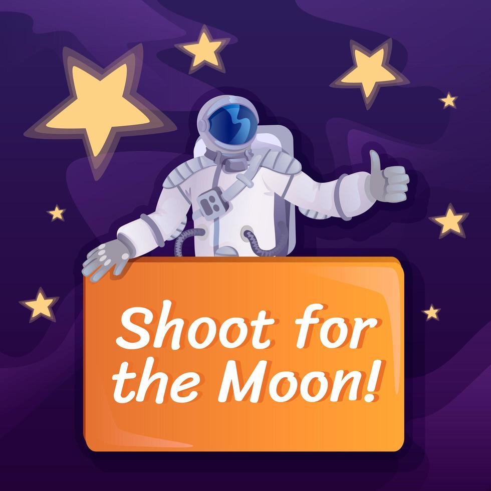 schiet voor post op sociale media op de maan vector
