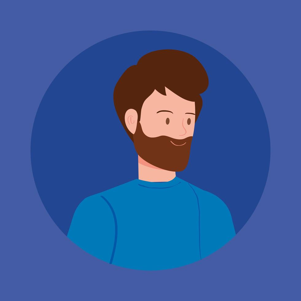 ronde avatar met jonge man vector