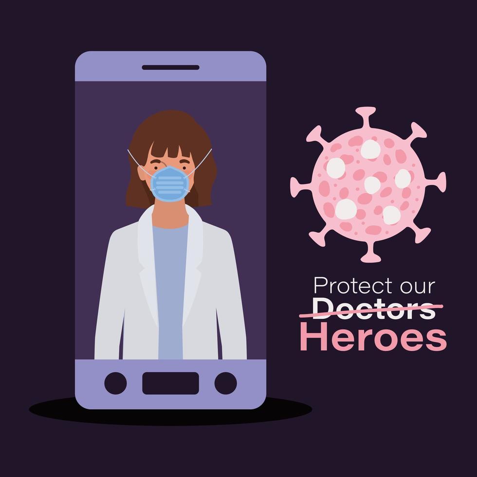 vrouw arts held met uniform en masker vector