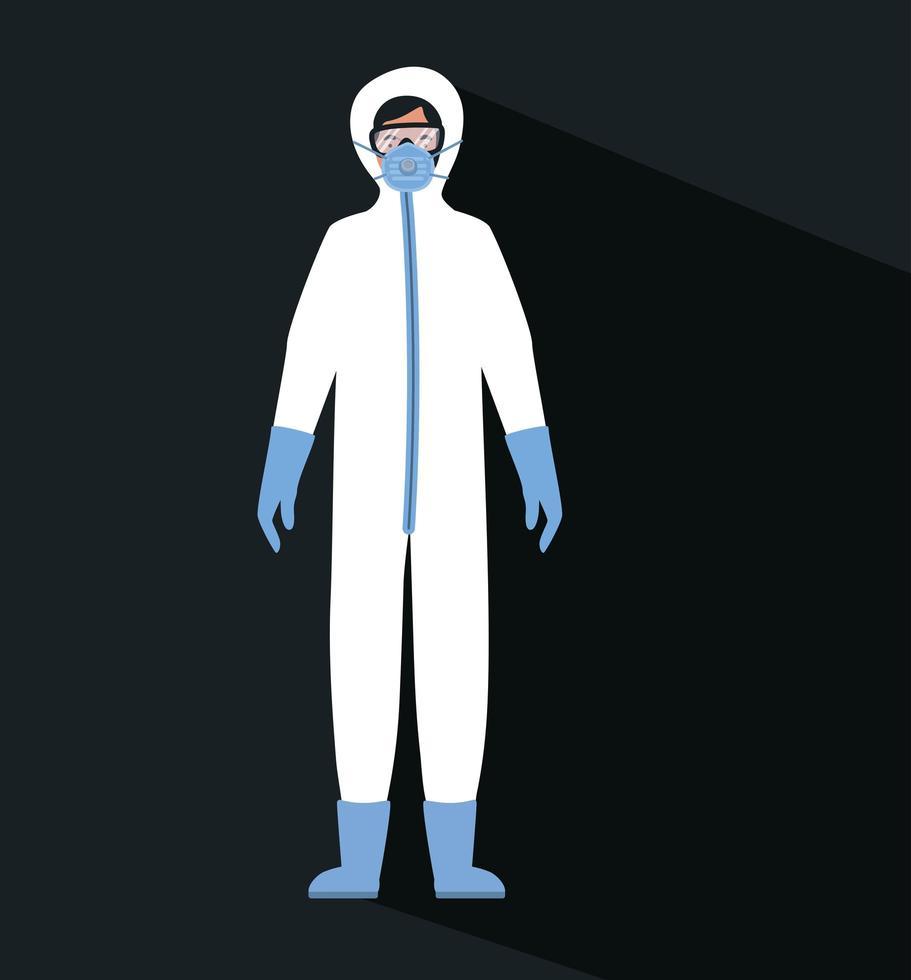 arts met beschermend pak, bril en masker vector