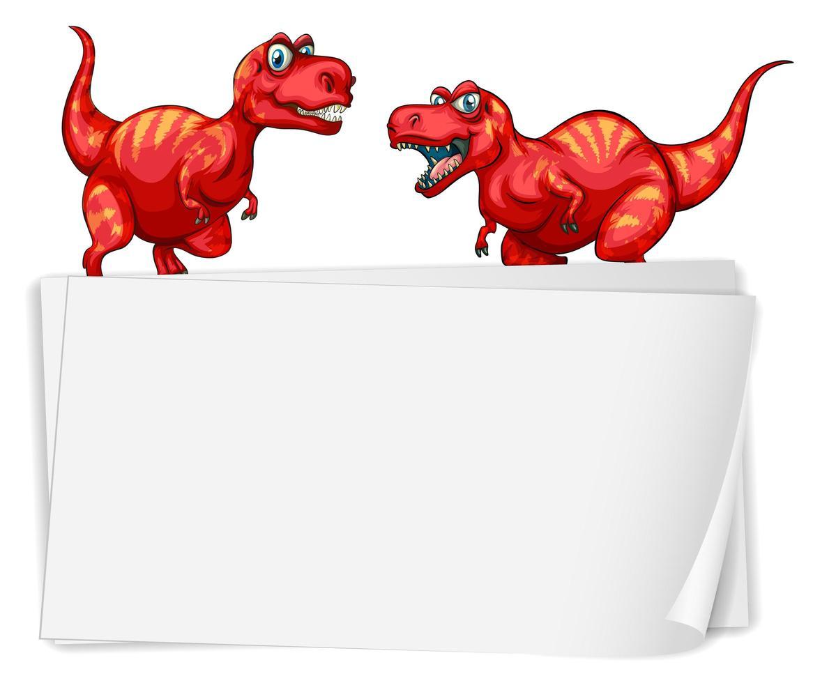 een dinosaurusbannermalplaatje op witte achtergrond vector