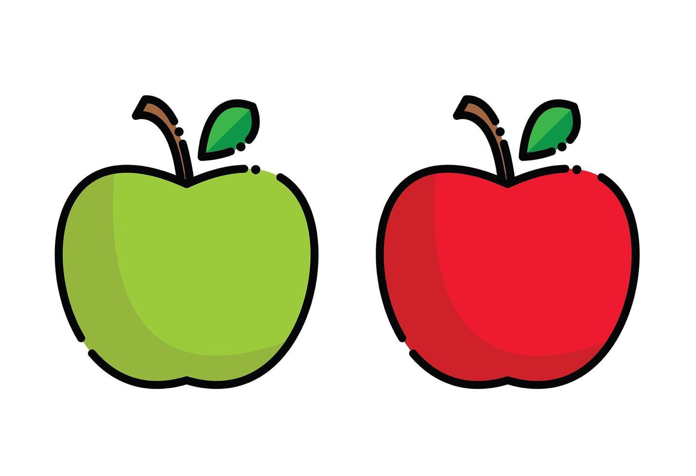 rode appel en groene appelpictogrammen vector