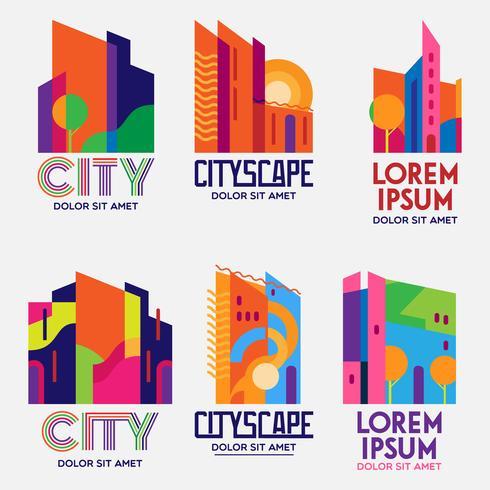 City Scape-logo's instellen vector
