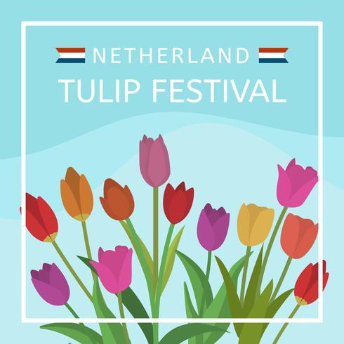 Vlakke Netherland Tulip Festival Vector Illustration