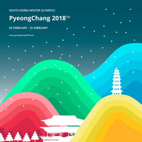 Winterspelen Korea Illustratie. PyeongChang 2018 Tagline Concept. vector