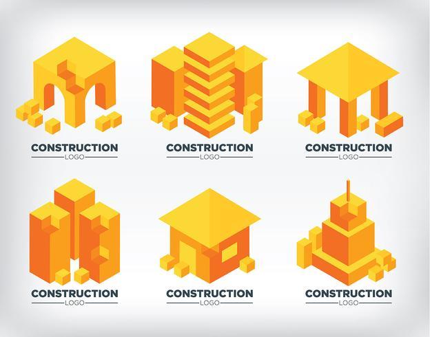 Isometrische bouw logo's vector
