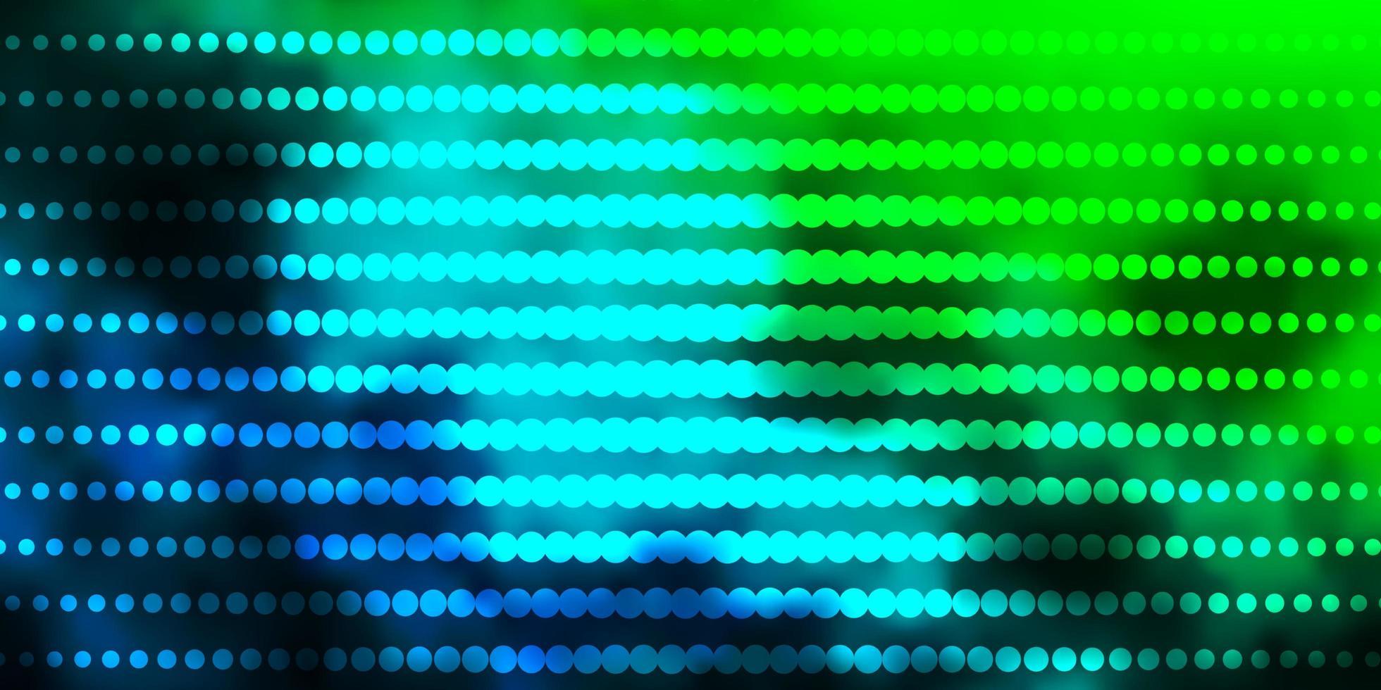 lichtblauwe, groene vectortextuur met cirkels. vector