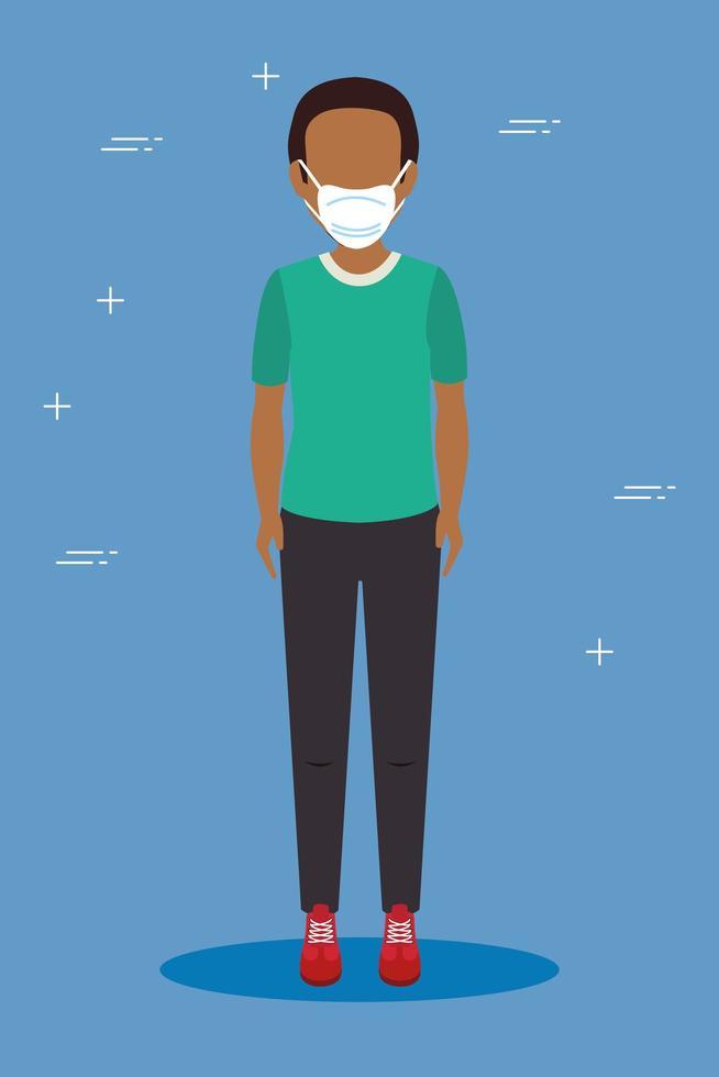 jonge man met een gezichtsmasker vector