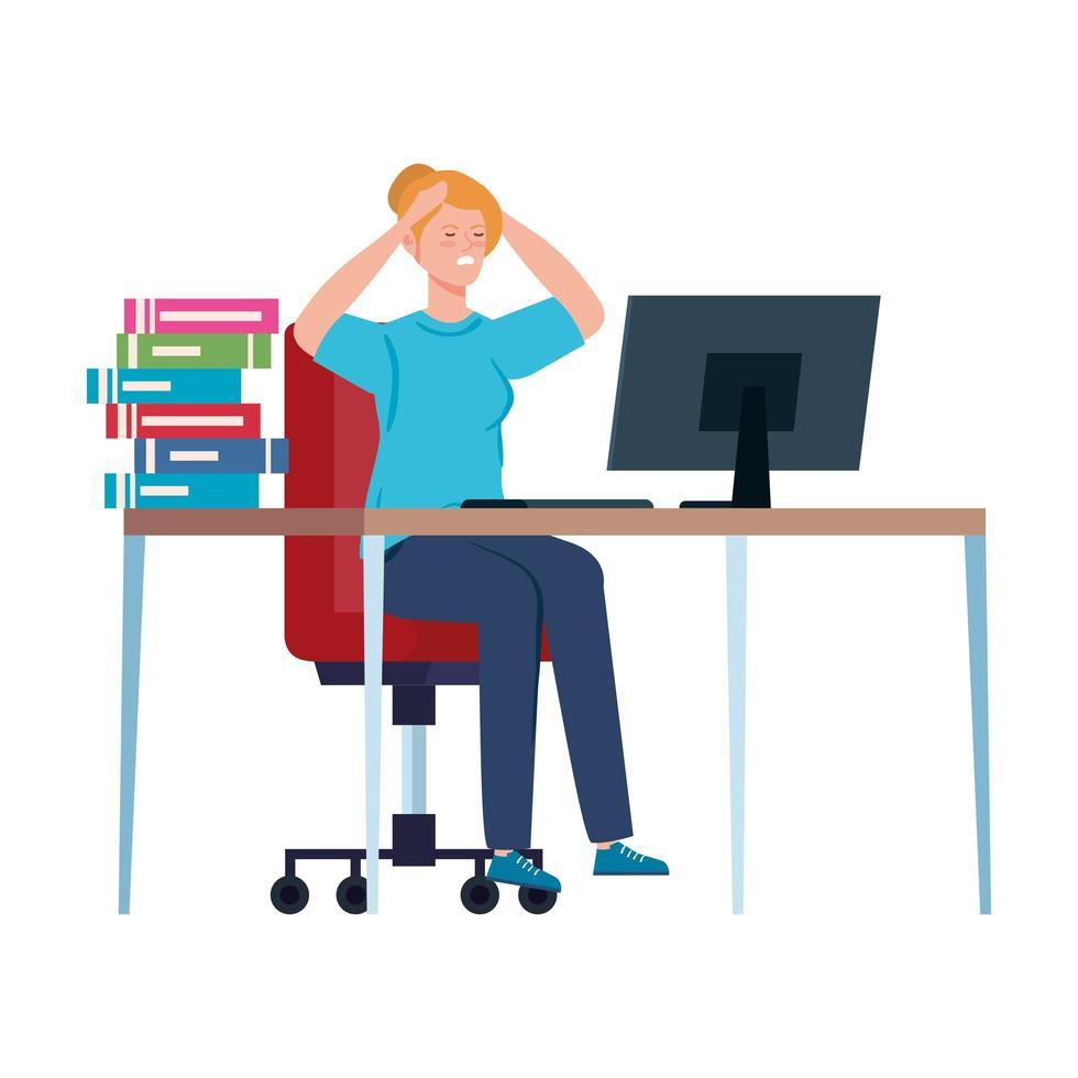 vrouw met stressaanval op de werkplek vector