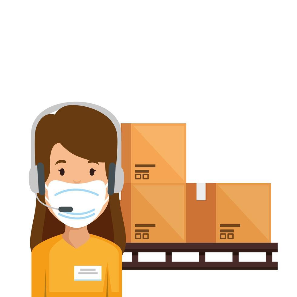 agent van een callcenter met gezichtsmasker en pakketten vector
