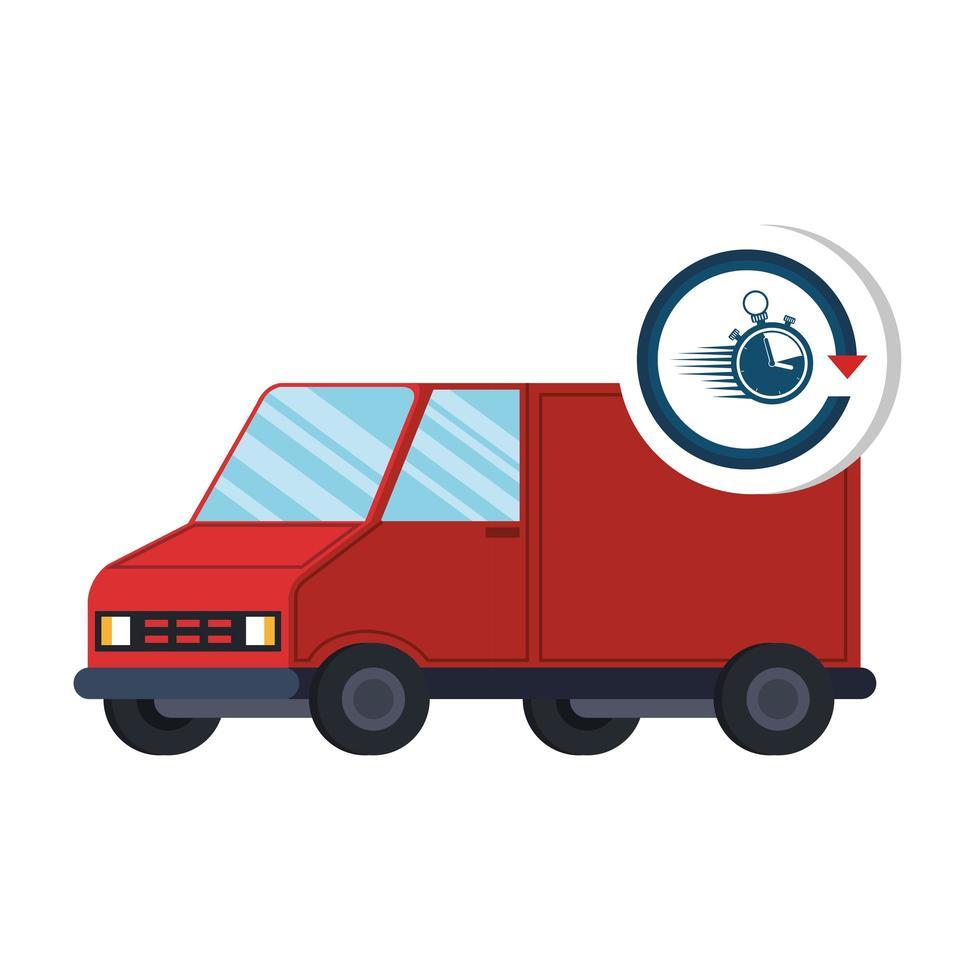 bestelwagen met stopwatch vector
