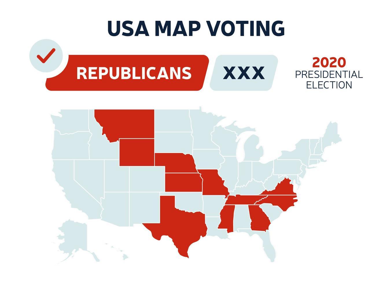 VS presidentsrepublikeinen verkiezingsresultaten kaart. USA kaart stemmen. presidentsverkiezingen kaart elke staat amerikaanse electorale stemmen met republikeinen of democraten politieke vector infographic