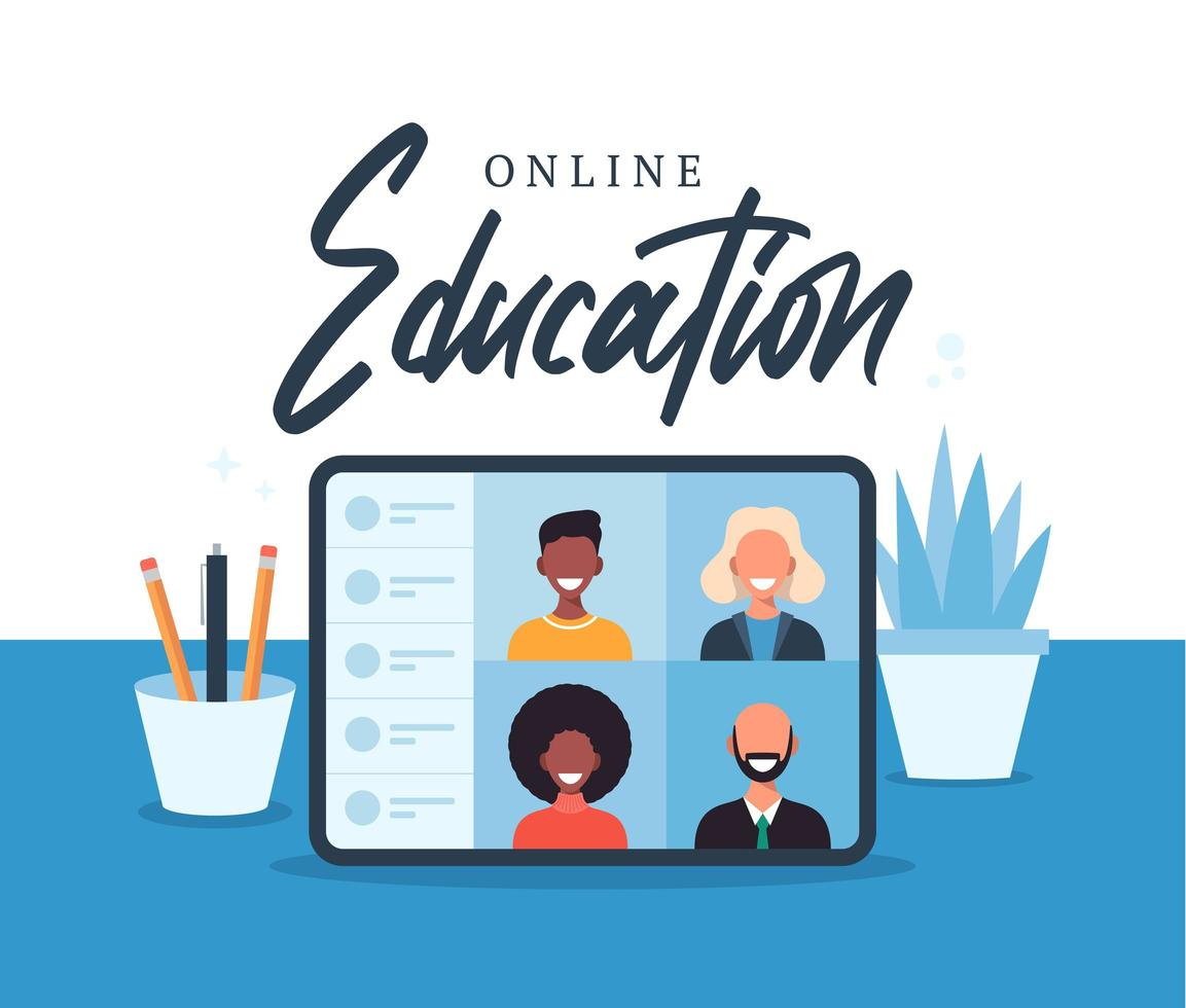 online onderwijs, e-learning, online cursusconcept, thuisschool vectorillustratie. studenten op laptop computerscherm, afstandsonderwijs, nieuwe normaal, cartoon platte vectorillustratie vector